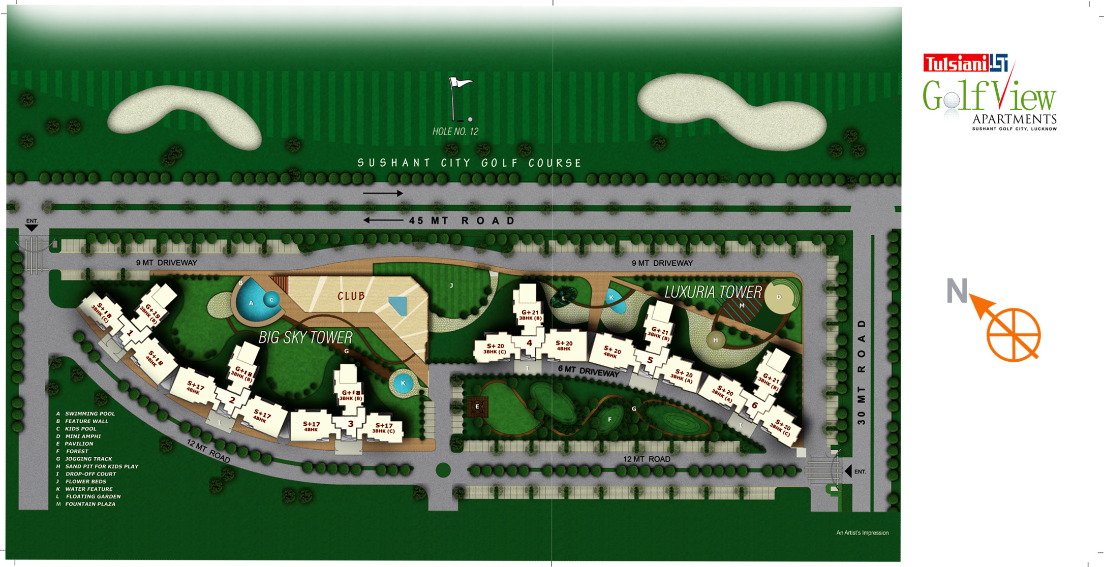 Tulsiani golf view apartments for Apartment plans for 60x40 site